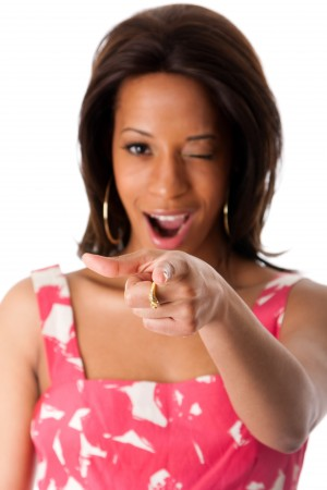african-business-woman-pointing-index-finger