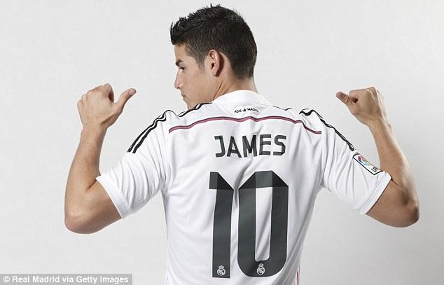 James Rodriguez displaying his Real shirt